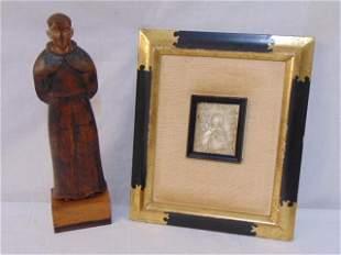 Santos figure & small carved religious plaque, Santos