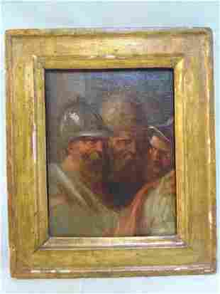 Painting, men with helmets, oil on panel, 3 figures,