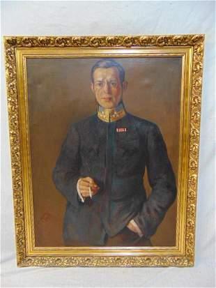 "Painting, portrait officer, signed ""Reforek""??? Czech"