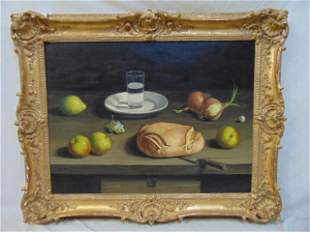 Painting, still-life bread, A. Mesa, oil on canvas,