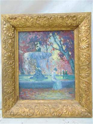 Painting, woman by fountain, signed ill. oil on canvas