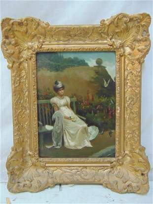 Painting, lady on bench, by H.H. Cobely, oil on canvas,