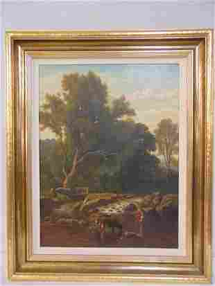Painting, cows in stream, figure by small dam,