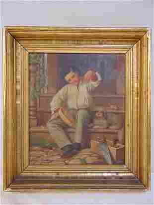 Painting, boy with dog, Anna Lindner, 1869, oil on
