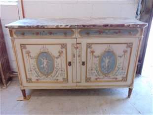 Paint decorated marble top linen chest, double door