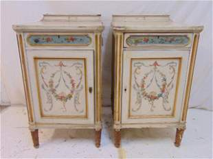 Pair of paint decorated cabinets (old vanity sides),