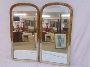 Pair mirrors, paint decorated frames, each mirror is
