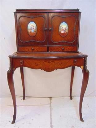 Mahogany bronze mounted desk, decorative applied