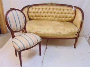 Upholstered French settee & side chair, carved frame,