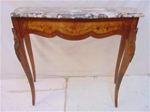 Marble top console table, inlaid bronze mounted base,