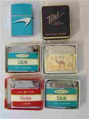 Lot vintage new old stock lighters, Tiki, Camel,
