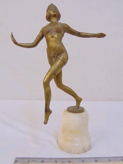 Art deco bronze statue, exotic dancer, on onyx base,