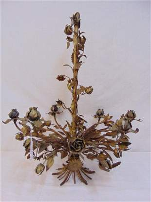 Decorative candle hanging fixture, metal with floral &