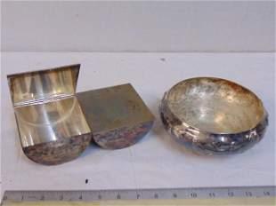 Silver plate cigarette box & Eneret, Astral bowl,