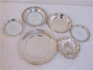 silver lot, several dishes, trays, approx 11 troy