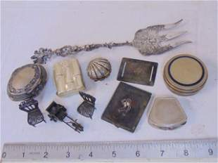 800 silver lot, various small boxes, miniatures, ornate