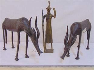 3 African bronzes, two antelope figures & figure of man
