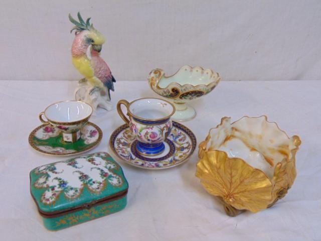Porcelain lot, parrot, bowls, box, includes Sevres box,