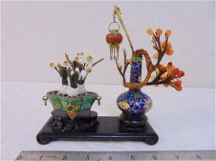 Cloisonne & carved stone miniature planters, Chinese on