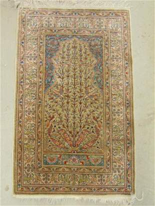 """Small silk scatter rug, 40"""" by 25.5"""""""