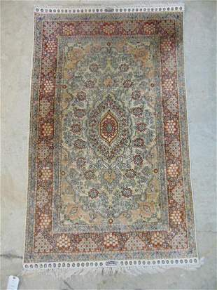 Small silk scatter rug, signed, light colors, carpet is