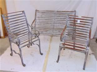 3 piece iron patio set, pair chairs & loveseat,