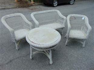 4 piece wicker set, loveseat, pair of arm chairs &