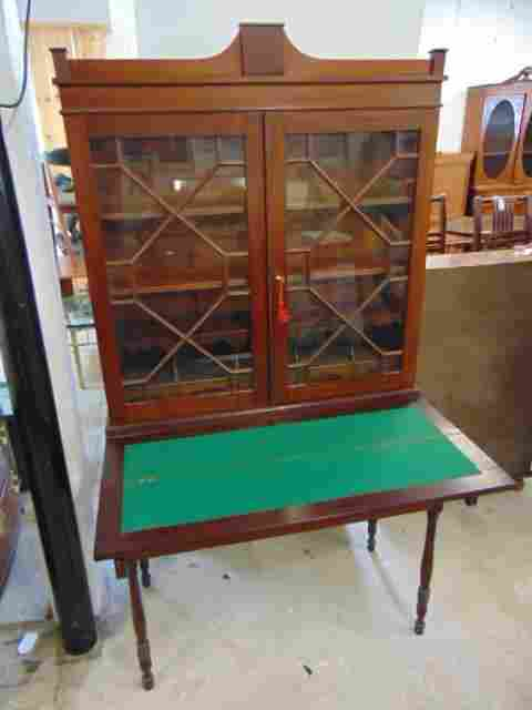 Mahogany bookcase, secretary cabinet, double door top