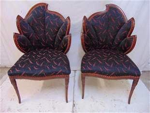 Pair of Mid Century upholstered chairs with leaf shaped