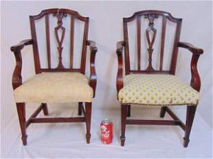 Pair child sized Chippendale arm chairs, carved