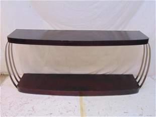 Deco console, sofa table, mahogany finish with metal