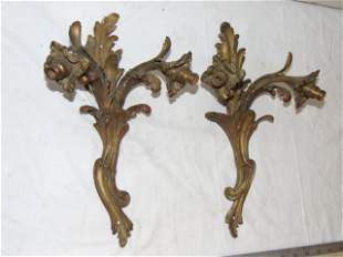 Pair French art nouveau bronze wall sconces, double
