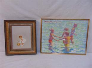 2 paintings, little girl with basket, unsigned oil on