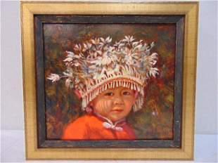"Painting, ""Langde Child"", Jo Sherwood, oil on linen,"