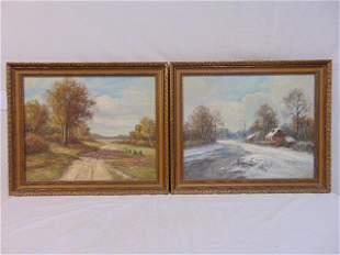 Pair paintings, Rupprecht, German landscapes, oil on