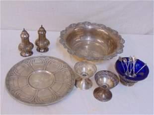 Lot sterling silver, bowl, salt pepper & more, 34 troy