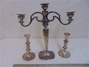 weighted sterling silver lot, pair candlesticks & two