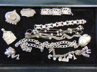 Sterling silver lot, various bracelets, Abalone inlaid
