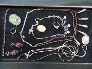 Lot sterling & garnet jewelry, necklaces, earrings,