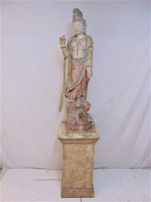 Carved wood Quan Yin statue on wood pedestal, old