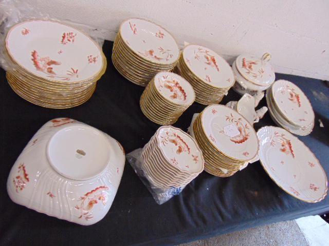 Set of Ginori porcelain dinnerware, red & gold