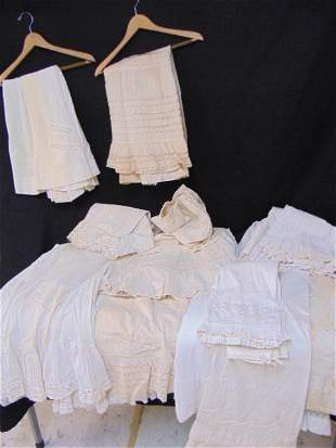 Collection of Victorian whites, 4 pairs of pantaloons