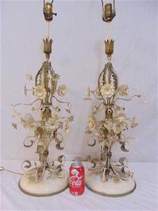 Pair decorative iron table lamps with floral & leaf
