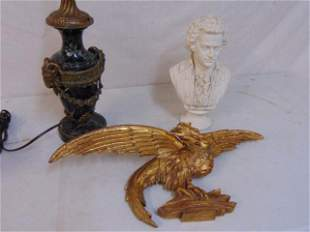 Bronze mounted lamp, bisque bust & gilt eagle, green
