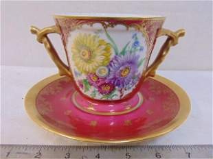 Limoges France Cranberry Ground 2 handled Cup with
