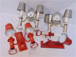Lot of sconces, includes 2 red painted tole sconces,