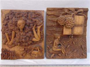 """Two carved wood plaques, Czech, one is signed """"Hra D."""