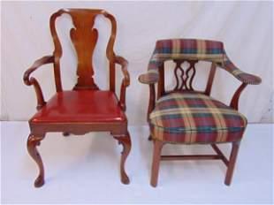 2 chairs, Georgian style open arm chair & Queen Anne