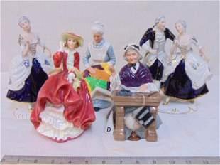 Royal Doulton & Royal Dux figurines, 3 porcelain Royal
