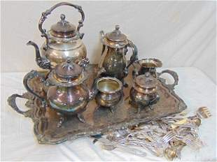 Large silver plate tea set & lot of flatware, tea set